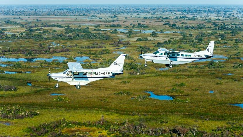 Avion taxi en Afrique, Survol de l'Okavango, Botswana © Wilderness Safaris