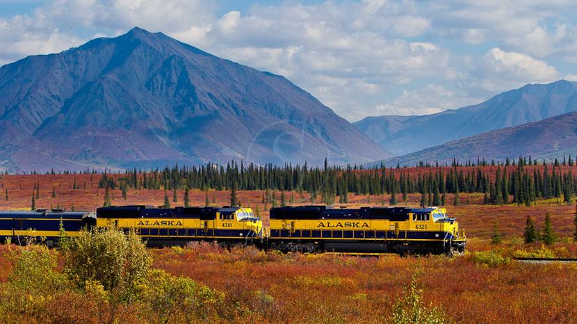 Trajet en train avec Alaska Railroad, Denali Star, Alaska © Glenn Aronwits