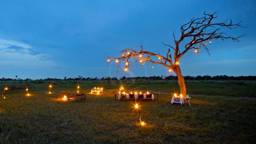 Dîner sous les étoiles dans le Delta de l'Okavango, Nxabega Camp, Delta de l'Okavango © &Beyond