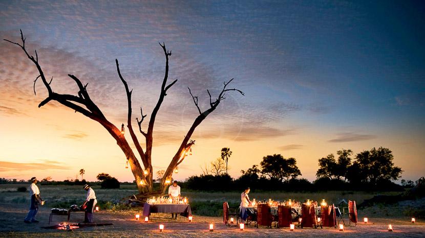 Dîner sous les étoiles dans le Delta de l'Okavango, Selinda Camp, Botswana © Beverly Joubert