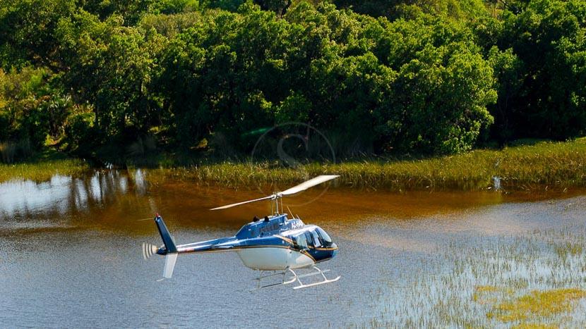 Safari en hélicoptère à Linyanti, Baine's Camp, Botswana