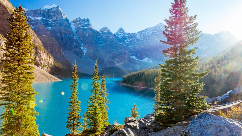 Alberta, Lac Moraine dans l'Alberta, Canada