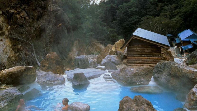 Baignade dans un onsen, Région de Onsen, Japon