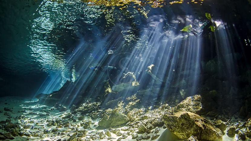 Plongée dans un cenote,