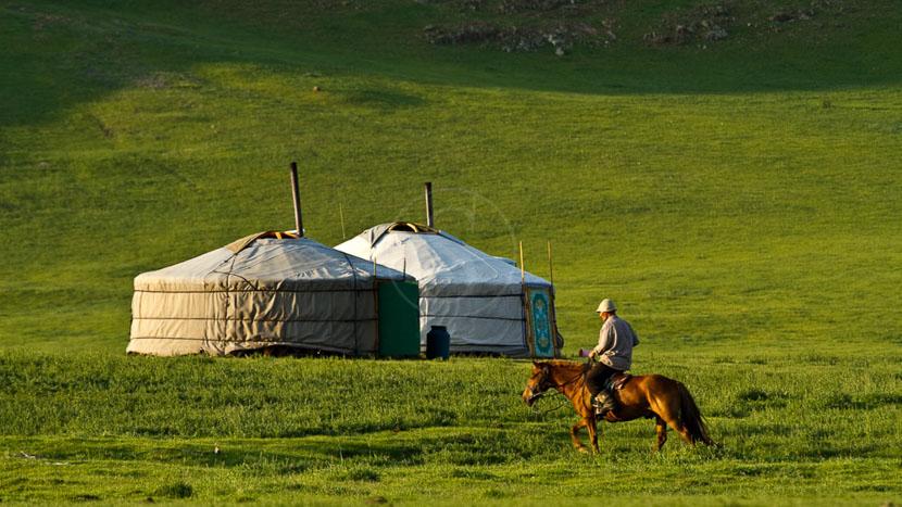 Chevauchée au bord de la rivière Orkhon, Vallée d'Orkhon, Mongolie