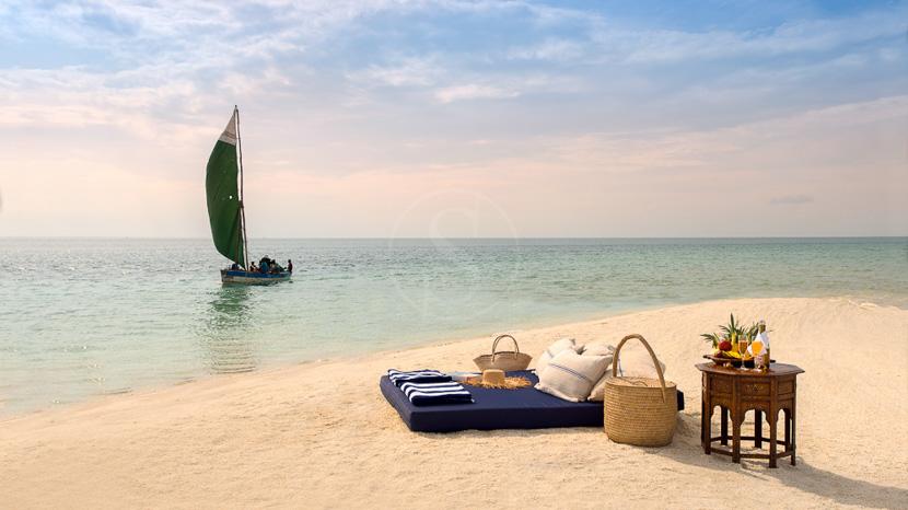 Journée sur un banc de sable désertique, Benguerra Lodge, Mozambique © &Beyond