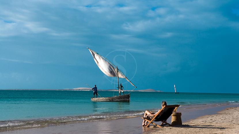 Journée sur un banc de sable désertique, Azura Lodge Benguerra, Mozambique
