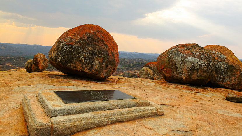 Visite de la tombe de Cecil Rhodes, View of the World, Matapos, Zimbabwe