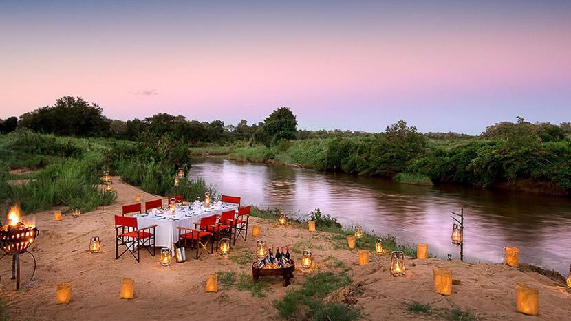 Lion Sands Tinga Lodge, River Dinner au Lion Sand, Afrique du Sud