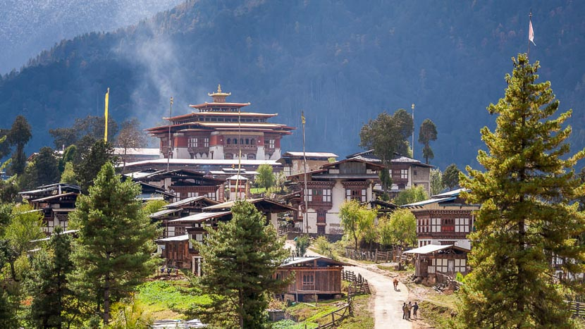La vallée de Phobjika, Région de Gangtey, Bhoutan © Shutterstock