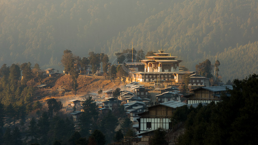 La vallée de Phobjika, Gangtey Lodge, Bhoutan
