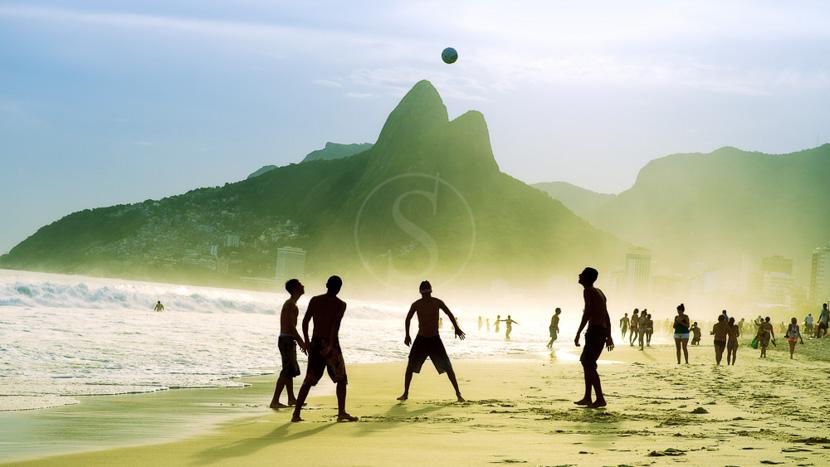Brésil, Plage d'Ipanema à Rio, Brésil