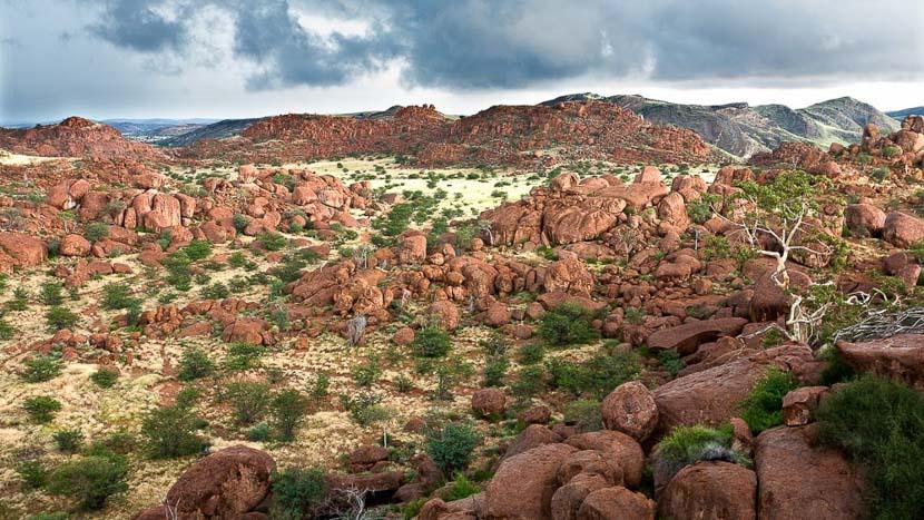Damaraland, Vue depuis le Mowani Mountain Camp, Namibie